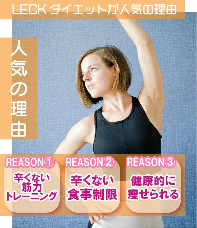 LECKダイエットが人気の理由。辛くない筋力トレーニング。辛くない食事制限。健康的に痩せられる。